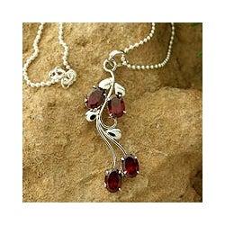 Sterling Silver 'Love Bouquet' Garnet Flower Necklace (India)