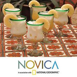Set of 6 Blown Glass 'Caribbean' Pina Colada Glasses (Mexico)