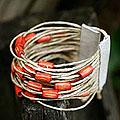 Bamboo and Leather 'Amazon Tangerine' Wristband Bracelet (Brazil)