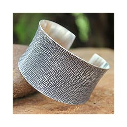 Sterling Silver 'Northern Inspiration' Cuff Bracelet (Thailand)