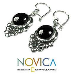 Sterling Silver 'Praise Love' Black Spinel Earrings (Guatemala)