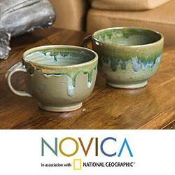 Set of 2 Ceramic 'Olive Seed' Teacups (El Salvador)