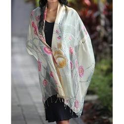 Silk 'Cherry Blossoms' Batik Shawl (Indonesia)