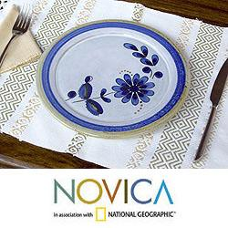 Set of 4 Ceramic 'Blue Chrysanthemum' Dinner Plates (El Salvador)