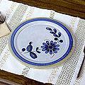 Set of 4 Ceramic 'Blue Chrysanthemum' Dinner Plates (El Salvador)