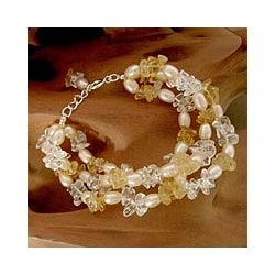 Pearl 'Sunshine Sparkle' Multi-gemstone Bracelet (7-7.5 mm) (India)
