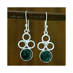 Sterling Silver 'Trinity of Faith' Jade Earrings (Guatemala)