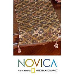 Handcrafted Hemp 'Hmong Land' Batik Table Runner (Thailand)