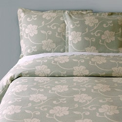 Isadora Sage Matelasse Queen-sized Cotton Bedspread with Floral Design