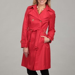 Calvin Klein Women's Tomato Red Belted Trench Coat