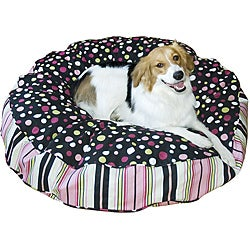 Black and Pink Scooter Deluxe Small Round Dog Bed