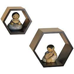 Nesting Wall Dark Brown Mount Shelves (Set of 2)
