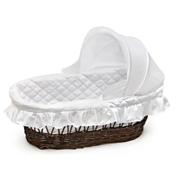 Cherry Hooded Moses Basket in White