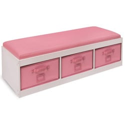 White Kid's Storage Bench with Pink Bins