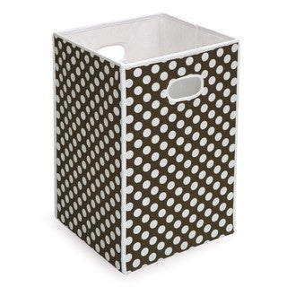 Brown and White Polka Dot Folding Hamper and Storage Bin