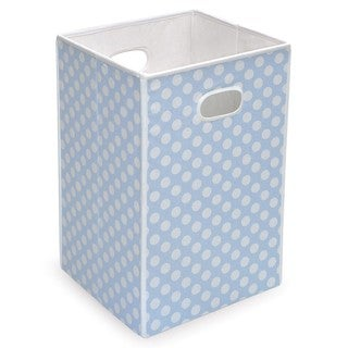 Blue Polka Dot Folding Hamper and Storage Bin