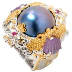Michael Valitutti Two-tone Peacock Mabe Pearl, Amethyst and Ruby Ring (14 mm)