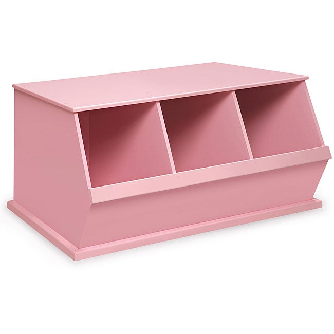 Three Bin Stackable Storage Cubby in Pink Kids Furniture