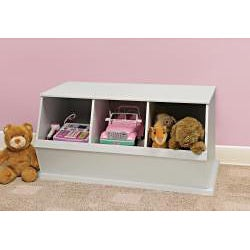 Three Bin Stackable Storage Cubby in White
