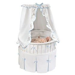 Elite Oval Baby Bassinet with White Bedding