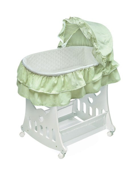 Sage Gingham Bassinet and Cradle with Toy Box Base