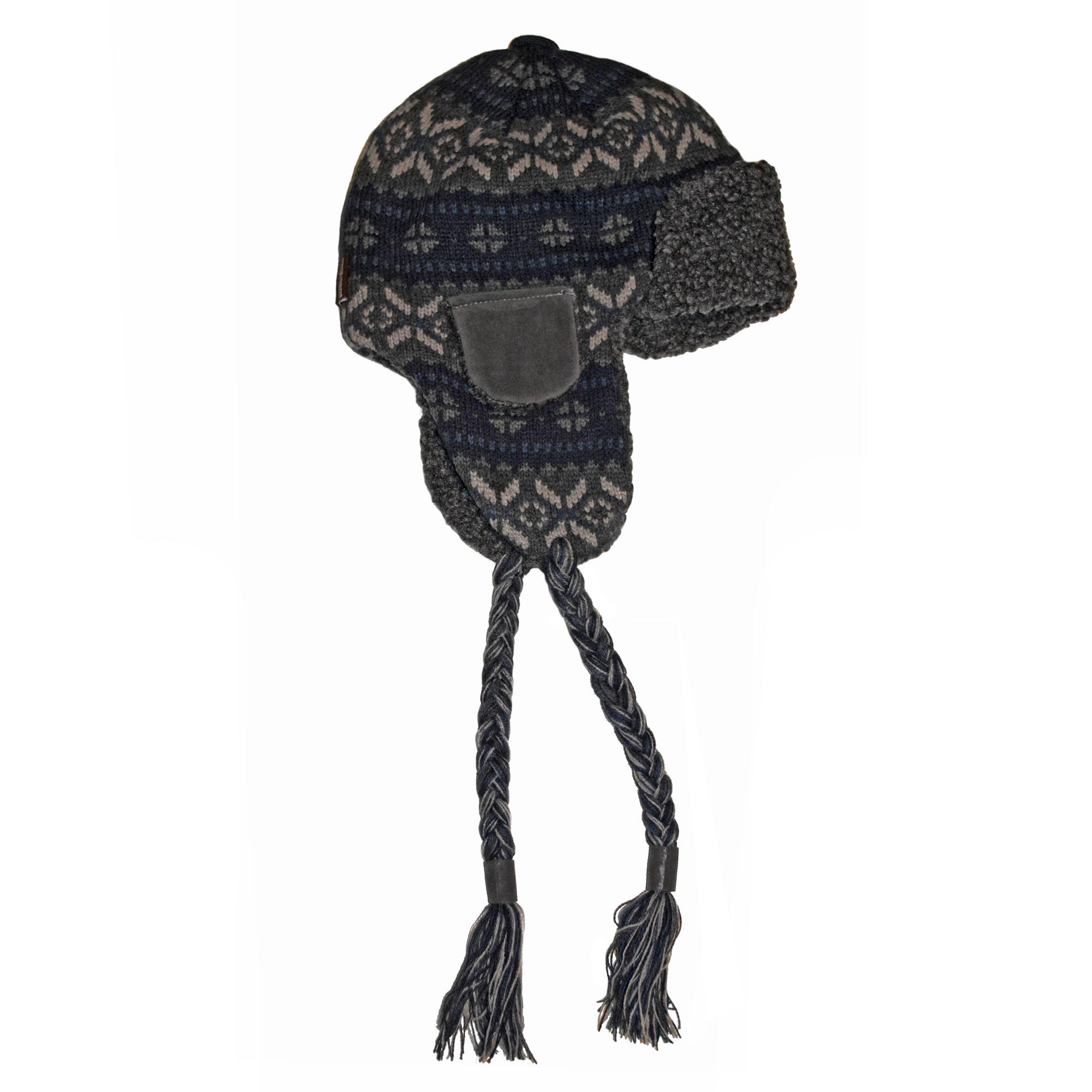 Muk Luks Men's Sweater Vest Knit Button Top Trapper Hat