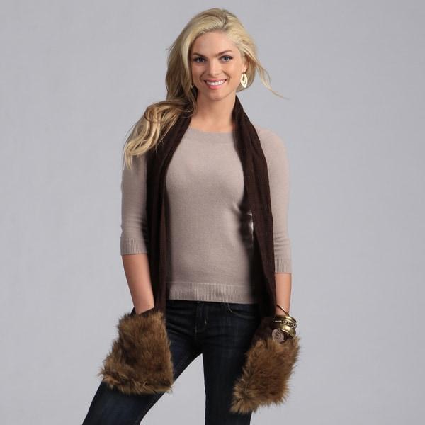 Muk Luks Java Fair Isle Fur Pocket Scarf