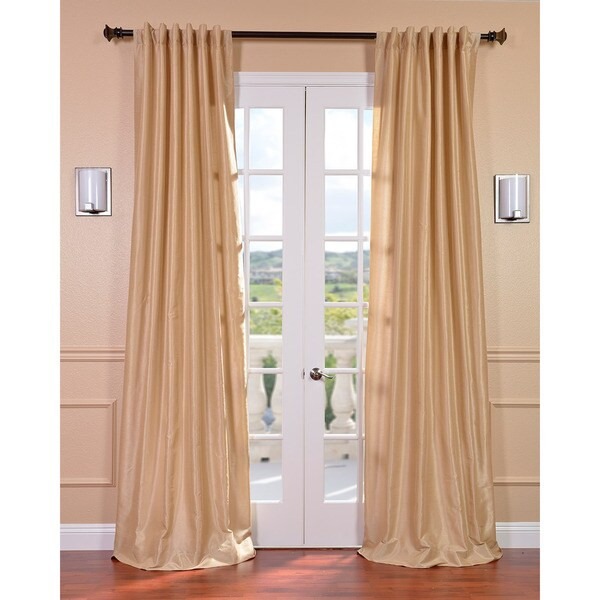 Almond Vintage 120-inch Faux Textured Dupioni Silk Curtain Panel