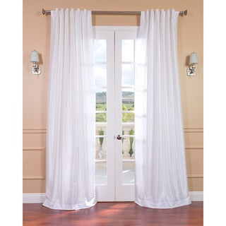 Ice White Vintage 120-inch Faux Textured Dupioni Silk Curtain Panel