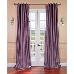 Smoky Plum Vintage Faux Dupioni Silk Curtain Panel