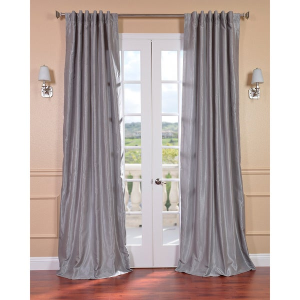 EFF Silver Vintage Faux Textured Dupioni Silk 84-Inch Curtain Panel