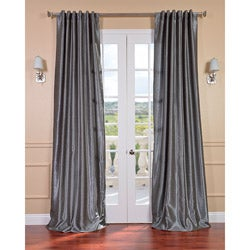 Storm Grey Vintage Faux Textured Dupioni Silk 84-inch Curtain Panel
