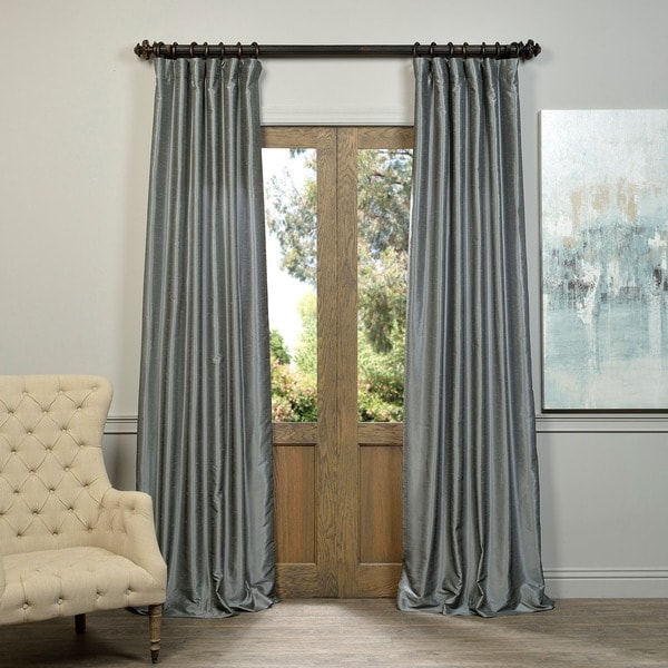 EFF Storm Grey Vintage Faux Textured Dupioni Silk Curtain Panel