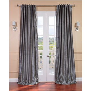 Storm Grey Vintage Faux Textured Dupioni Silk Curtain Panel