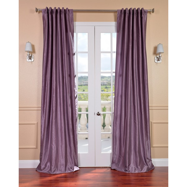Smoky Plum Vintage Faux Textured Dupioni Silk 96-inch Curtain Panel