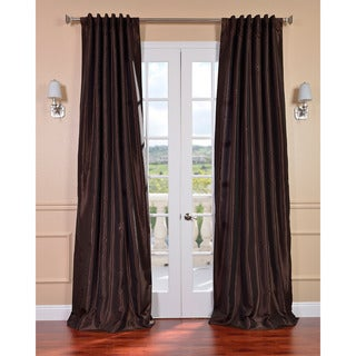 Coffee Bean Vintage Faux Textured Dupioni Silk Curtain Panel