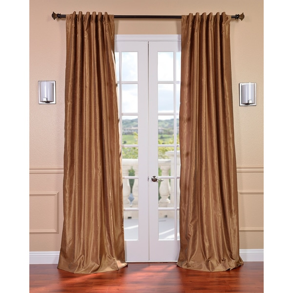Flax Gold Vintage Faux Textured Dupioni Silk 96-inch Curtain Panel