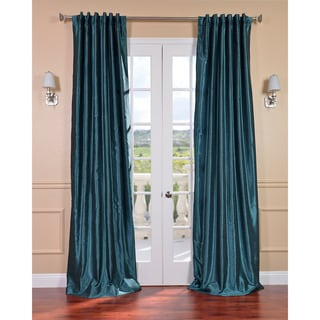 Peacock Vintage Faux Textured Dupioni Silk 96-inch Curtain Panel