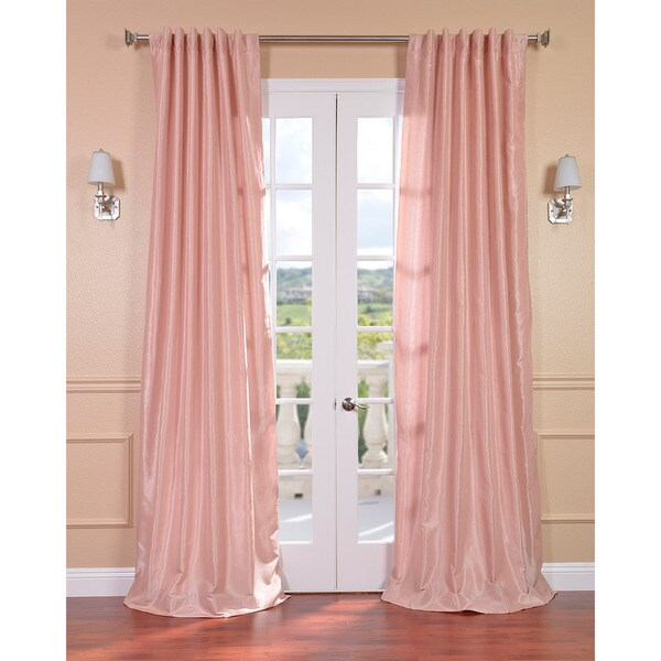Blush Rose Vintage Faux Textured Dupioni Silk 96-inch Curtain Panel