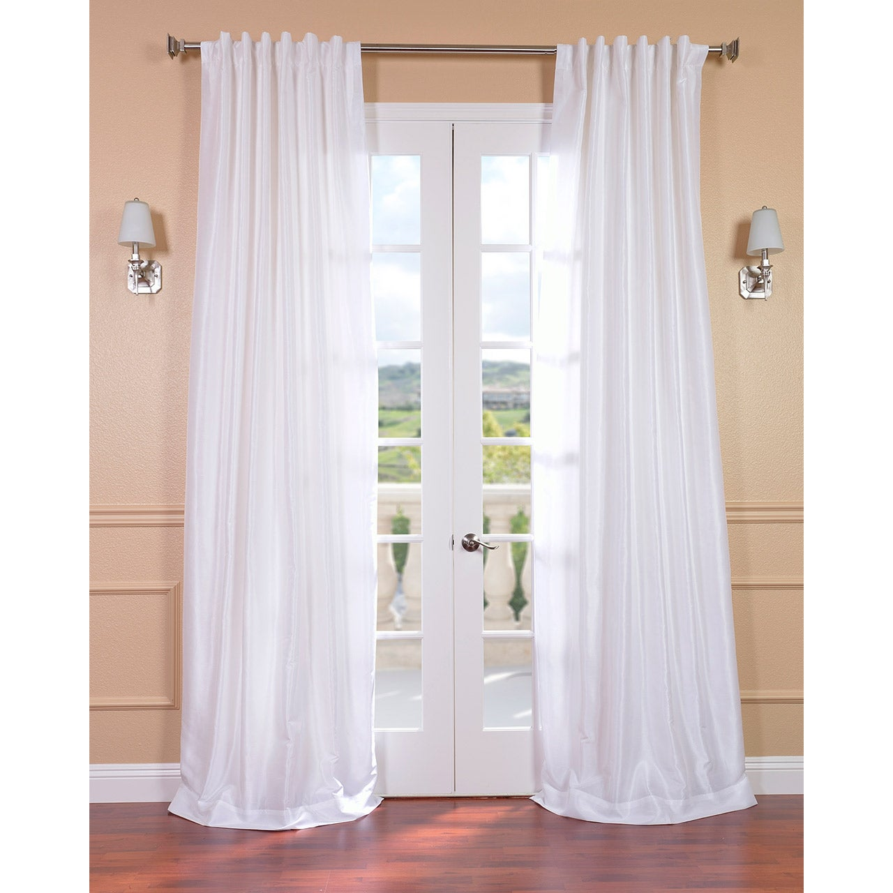 ice white vintage faux textured dupioni silk curtain panel