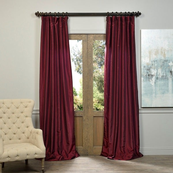 Exclusive Fabrics Ruby Vintage Faux Textured Dupioni Silk Curtain Panel