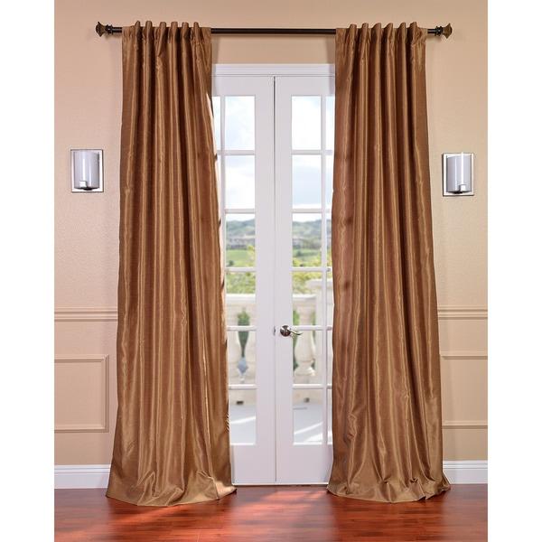 Flax Gold Vintage Faux Textured Dupioni Silk Curtain Panel