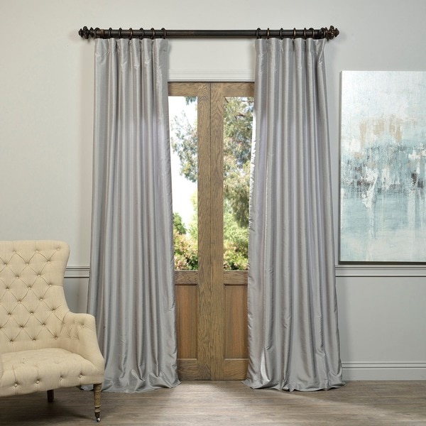 EFF Silver Vintage Faux Textured Dupioni Silk Curtain Panel