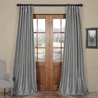 Exclusive Fabrics Silver Vintage Faux Textured Dupioni Silk Curtain Panel