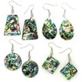 Pearlz High-polish Ocean Abalone Shell Geometric Dangle Hook Earrings