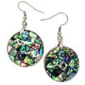 Pearlz Ocean Abalone Shell Round Checkered Dangle Earrings