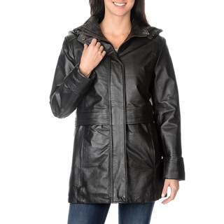 Excelled Women's Black Leather Hooded Anorak Jacket