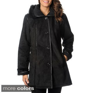 Excelled Women's Black Faux Shearling 3/4-length Coat