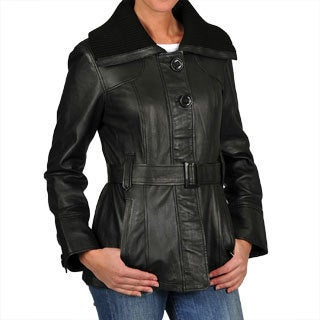 R & O Women's Black Leather Knit Spread Collar Jacket
