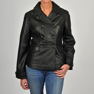 R&O Women's Black Leather Double-breasted Jacket